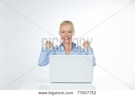 Happy Girl On White Background