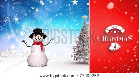 Snow falling against christmas tree and snowman