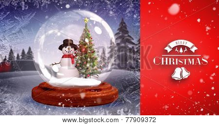 Snow falling against christmas tree and snowman in snow globe