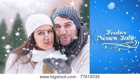 young winter couple against blue vignette