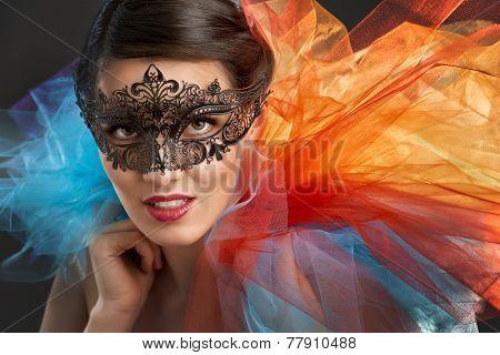 cute girl in masquerade mask