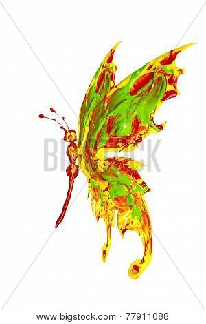 Butterfly Made Of Yellow Red Green Paint