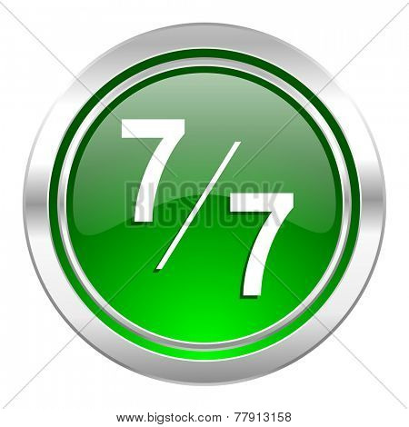 7 per 7 icon, green button