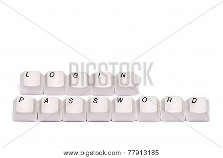 words from computer keypad buttons letters login password isolated