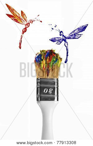 Red And Blue Dragonflies Flying Above Multicolor Paintbrush