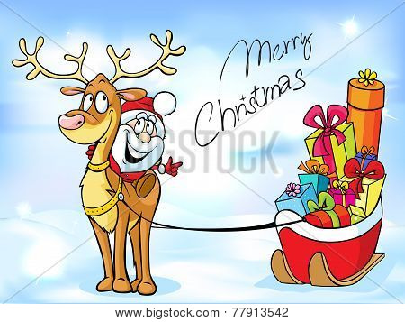 Funny Christmas Design With Santa Claus - Vector Illustration