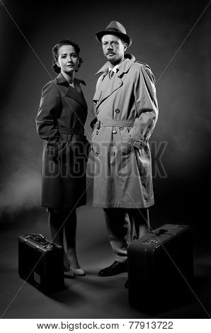 Film Noir: Elegant Couple Ready To Leave