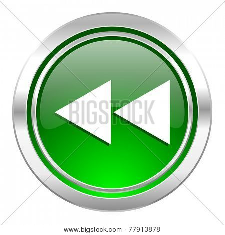 rewind icon, green button