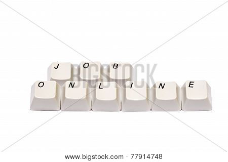 Words from computer keypad buttons job online isolated