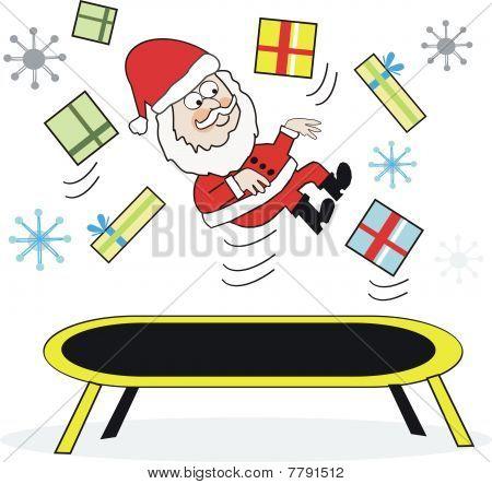 Santa trampoline cartoon