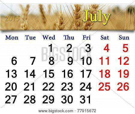 Calendar For The July Of 2015 With Ribbon Of Wheat