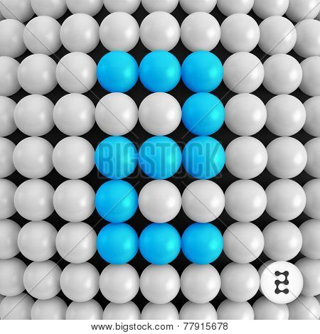 Number two. Abstract mathematics background. 3d vector illustration.