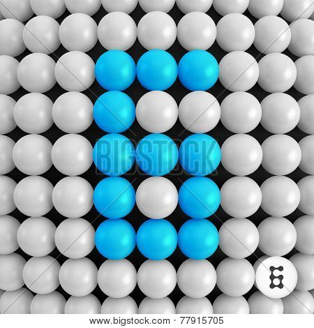 Number six. Abstract mathematics background. 3d vector illustration.