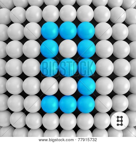 Number nine. Abstract mathematics background. 3d vector illustration.