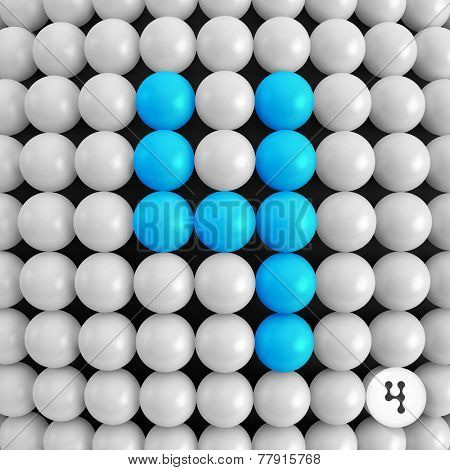 Number four. Abstract mathematics background. 3d vector illustration.