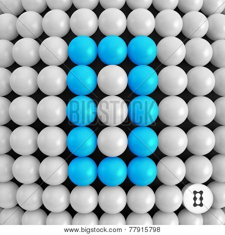 The number zero. Abstract mathematics background. 3d vector illustration.