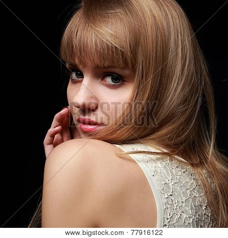 Beautiful Blond Teenage Girl Looking With Bob Hair Style