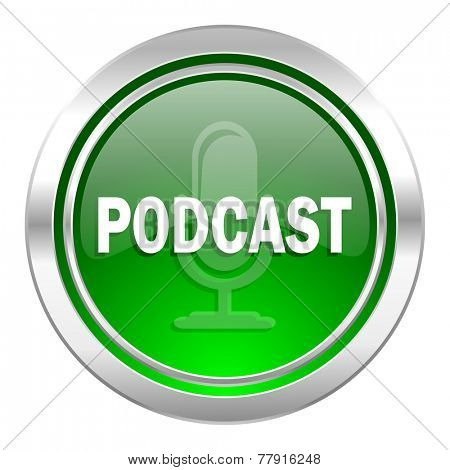 podcast icon, green button