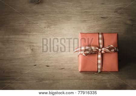 Overhead Gift Box On Wood