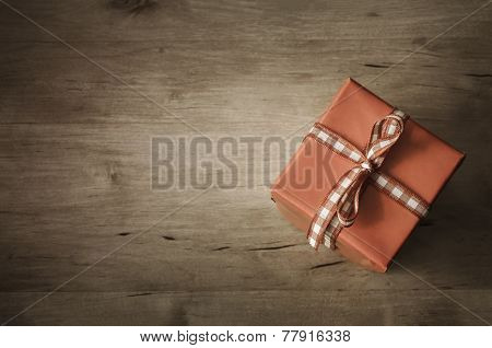 Overhead Gift Box On Wood - Angled