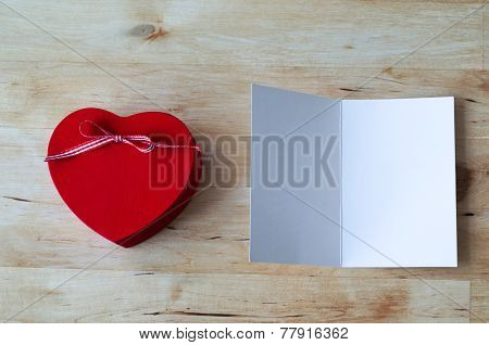 Heart Gift Box And Blank Card