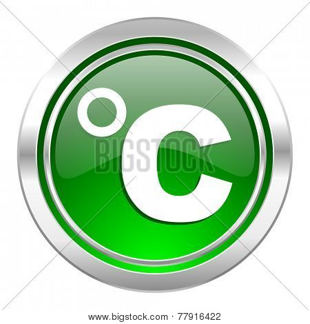 celsius icon, green button, temperature unit sign
