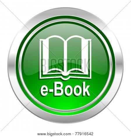 book icon, green button, e-book sign
