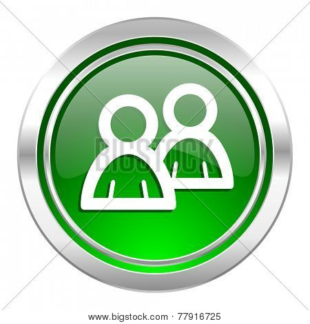 forum icon, green button, people sign