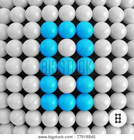 Number eight. Abstract mathematics background. 3d vector illustration.