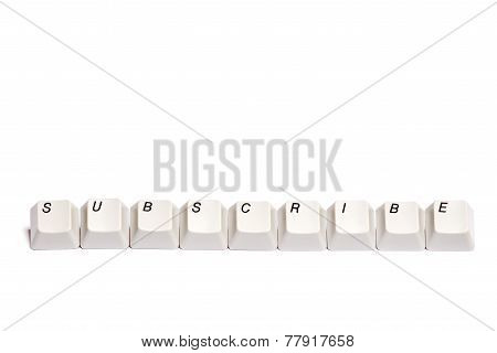 Word collected from computer keypad buttons subscribe isolated
