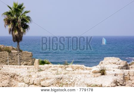 ancient  ruins on background sea