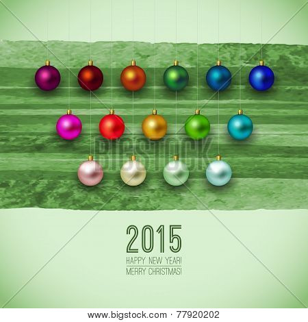 2015. Green Merry Christmas background. Christmas card or invita