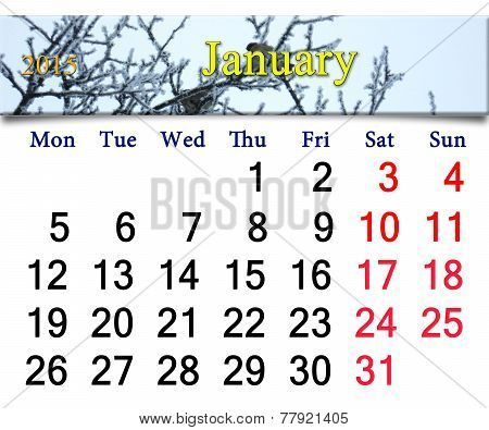 Calendar For The January Of 2015 With Winter Sparrows