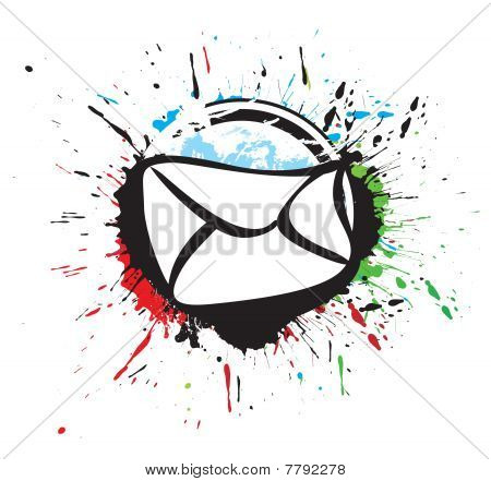 e-mail vector icon in black and white grunge ink splat,
