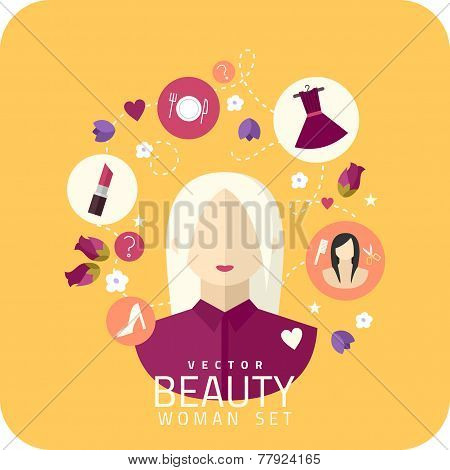 Shopping Woman And Makeup Icons Flat Vector Illustration