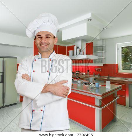 Chef In Red Kitchen