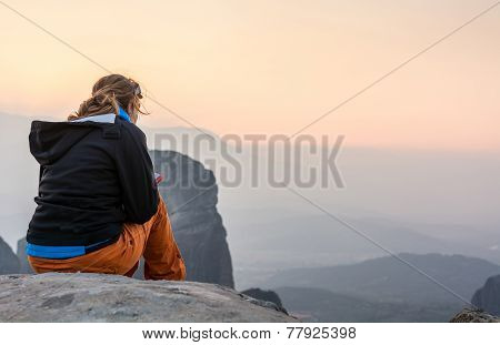 Girl Enjoying A Spectacular View