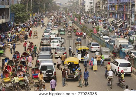 Busy traffic in Dhaka, Bangladesh.