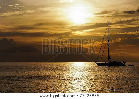 Sunset with a boat silhouette near Koh Phi Phi, Thailand