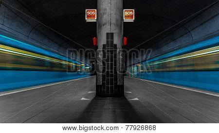 Surreal subway station with two trains arriving and departing in Frankfurt, Germany