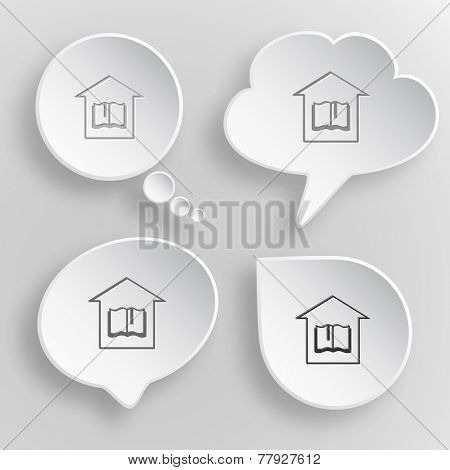 Library. White flat vector buttons on gray background.