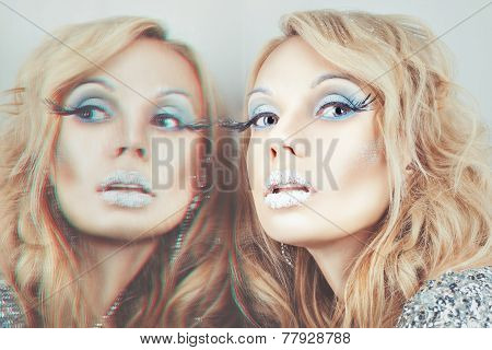 Portrait Of A Girl With Reflection.