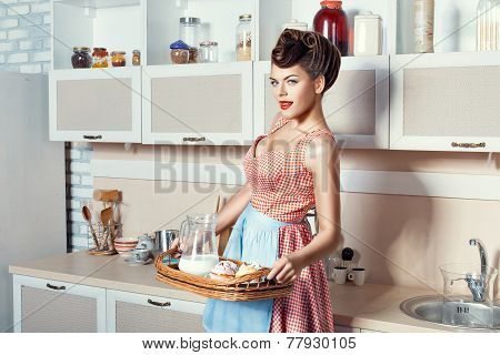 Woman Holding A Tray.