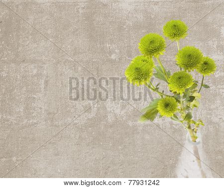 Vintage Texture With Branch Of Button Mums