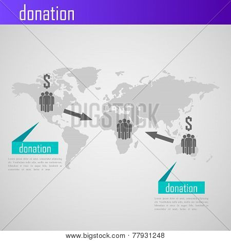 Infographic donation illustration for web or print design. Business concept