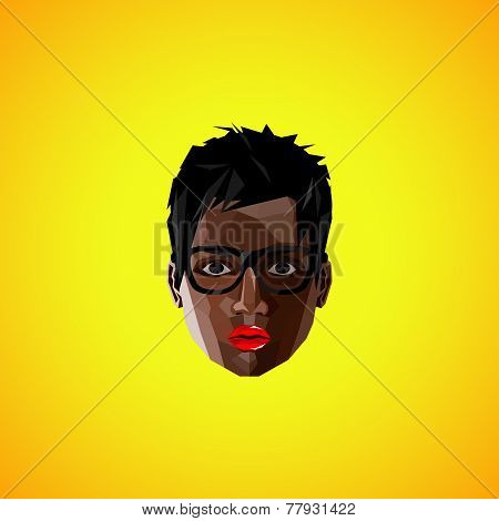 illustration of a black female face with eyeglasses. polygonal style