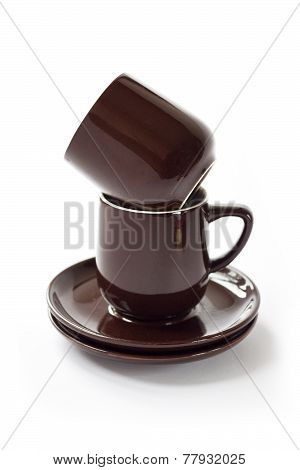 Stack Of Brown Crockery