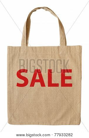 Cotton Shopping Bag With Word Sale Isolated On White Background