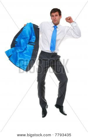 Businessman Jumping In Mid Air