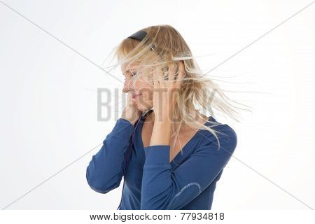 Profile Of Girl On Isolated Background